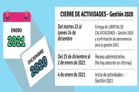 CIERRE DE ACTIVIDADES – Gestión 2020